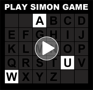 Simon memory with letters of the alphabet