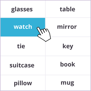 Words memory game - everyday items theme