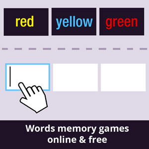 Words memory game - list of names of colors on black background