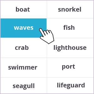 Words memory game - sea theme